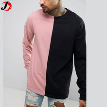 india wholesale clothing high quality man's tshirt oversized long sleeve t shirt with contrast colors