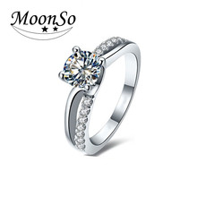 Wholesale high quality 925 sterling silver engagement wedding simple finger ring for women KR1915S