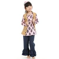 2016 bulk wholesale three pieces girl kids clothing set with jacket ,childrens cloth boutique clothing girls boutique clothes