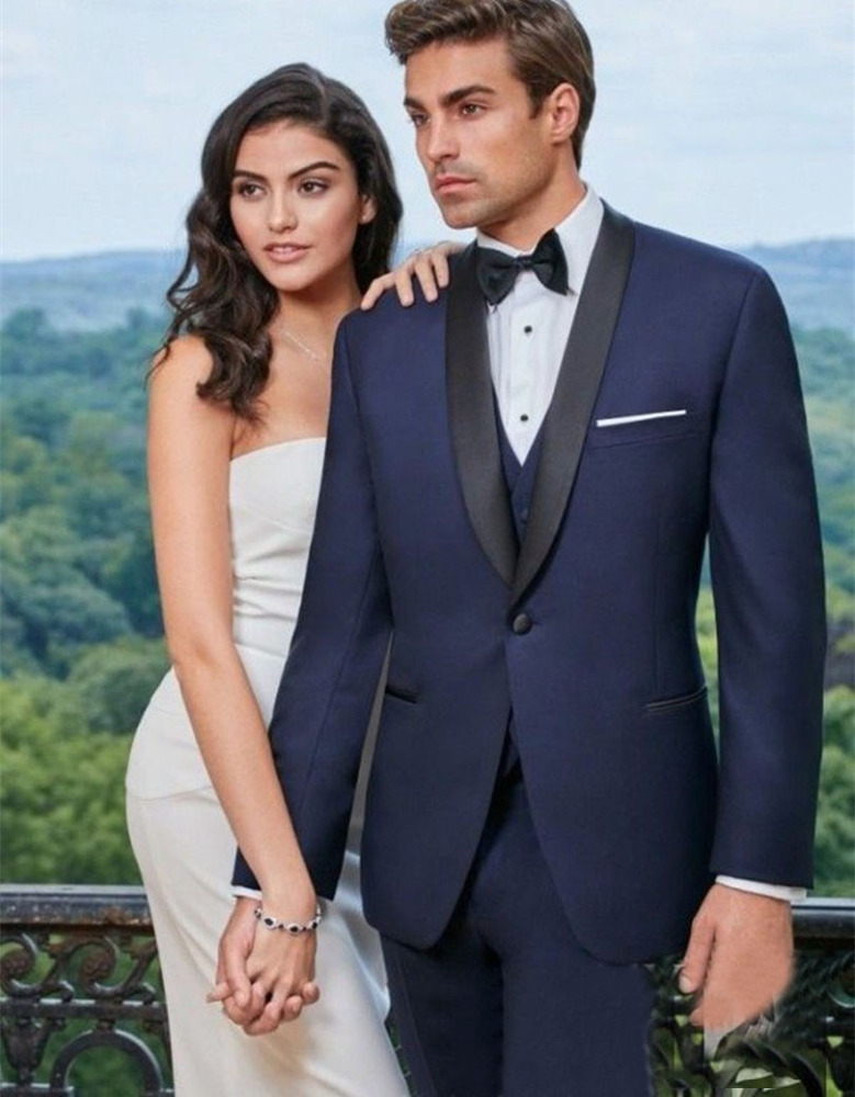 Design Blue Formal Wearing Customized Groom Wedding Tuxedos 3 Pieces (Jacket+Pants+Vest) WB054 men wedding suits pictures