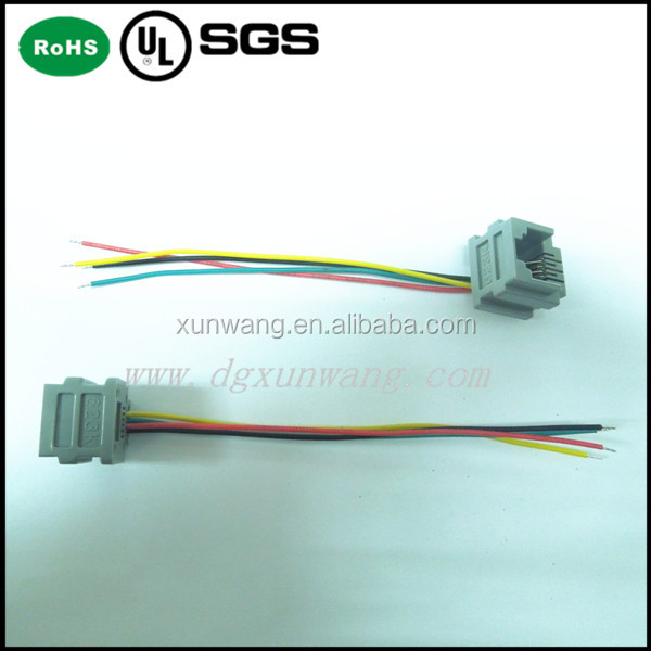 6P4C 4L=100mm rj11 Wholesale 623k wired modular jack/6 pin female connector