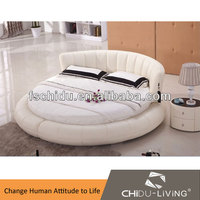 modern real leather round bed on sale A9009