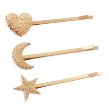 Minster brand New Star moon heart shape gold clip hair