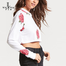 New arrivals printed crop top blouse,womens crop tops