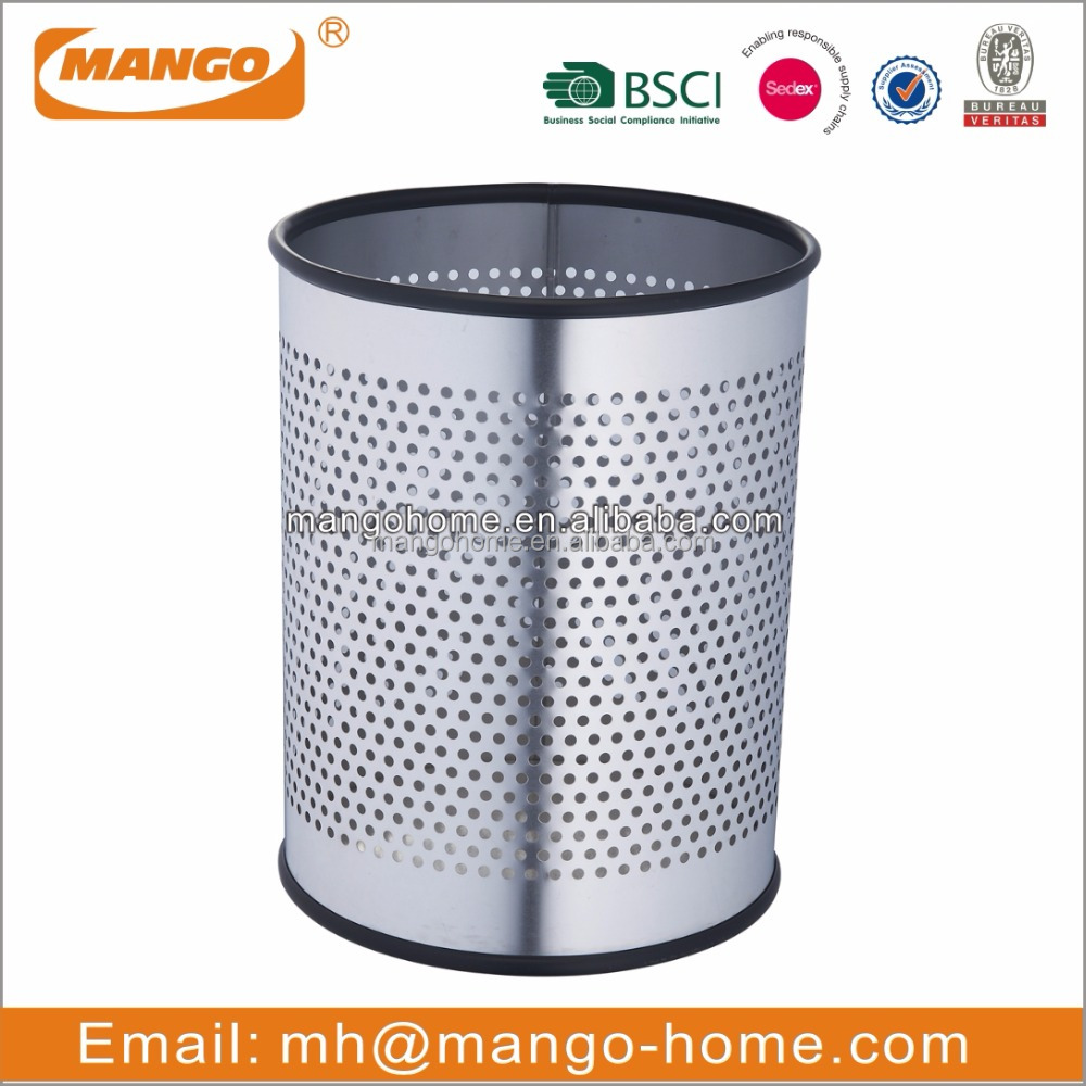 novelty stainless steel metal wastebasket convenient household trash can