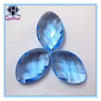 Oval shaped aqua blue Glass stone