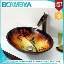 Oval Shaped Hand Painted Tempered Glass Hand Wash Basin Sinks For Bathroom
