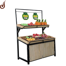 PD MDF and iron material wood supermarket fruit stand display rack