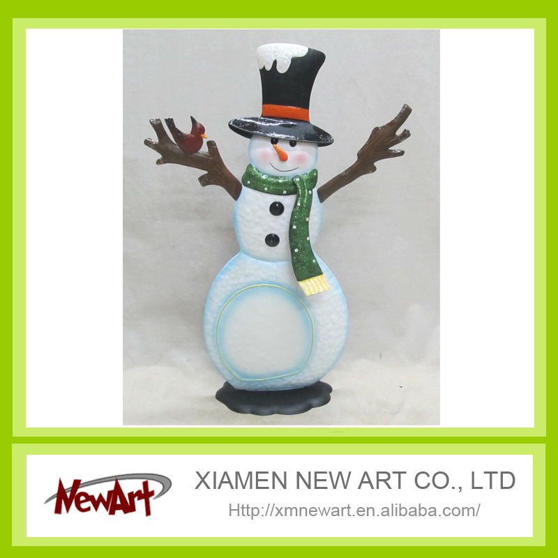 2014 safety first metal winter snowman decoration christmas snowman