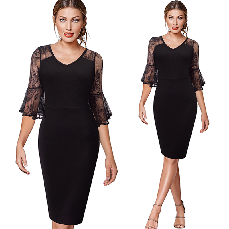 Popular 1 polyester fiber long lace evening sexy black night dress