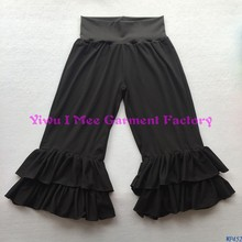 Bulk Wholesale Ladies Trousers Casual Young Women Black Ruffled Capris Pants with Fabric Waist WP452