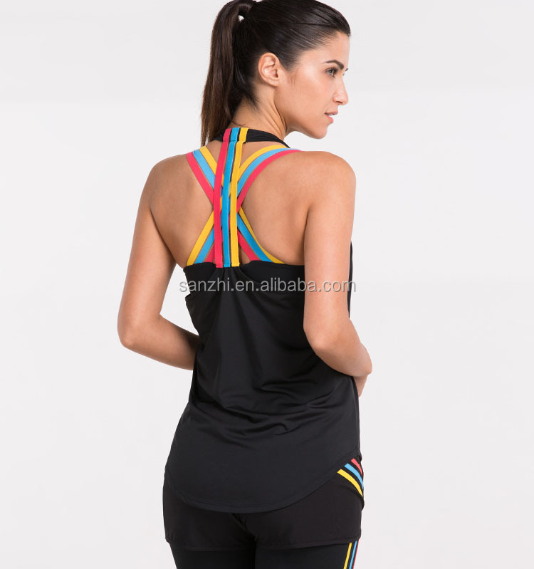 Women's Stripe Printed Moisture Wick Racer Back Athletic 100 Polyester Tank Top