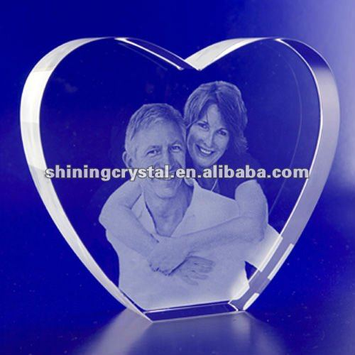3D laser Crystal Portraits Heart Crystal