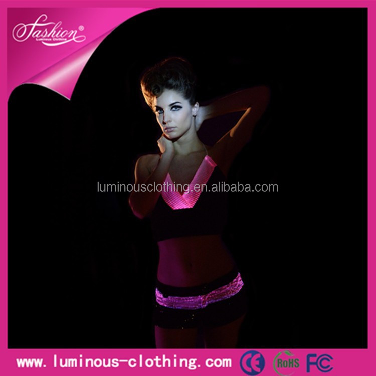 2015 luminous fabric led RGB color evening teenage party exotic dance wear