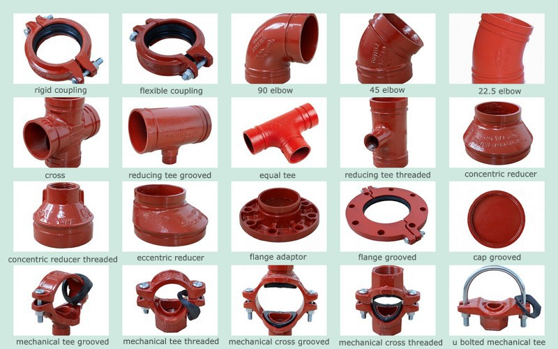 Fm Ul Approved Fire Fighting Ductile Iron Grooved Tee Pipe