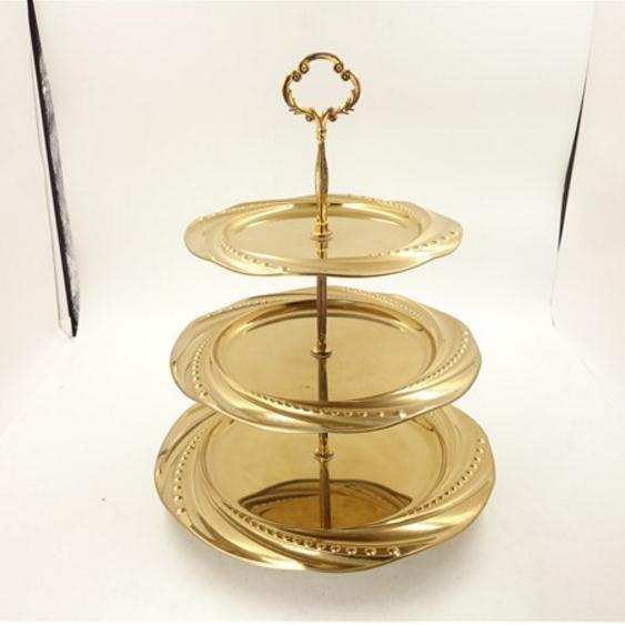 wedding decoration candy tray stainless steel 3 tiers fruit tray