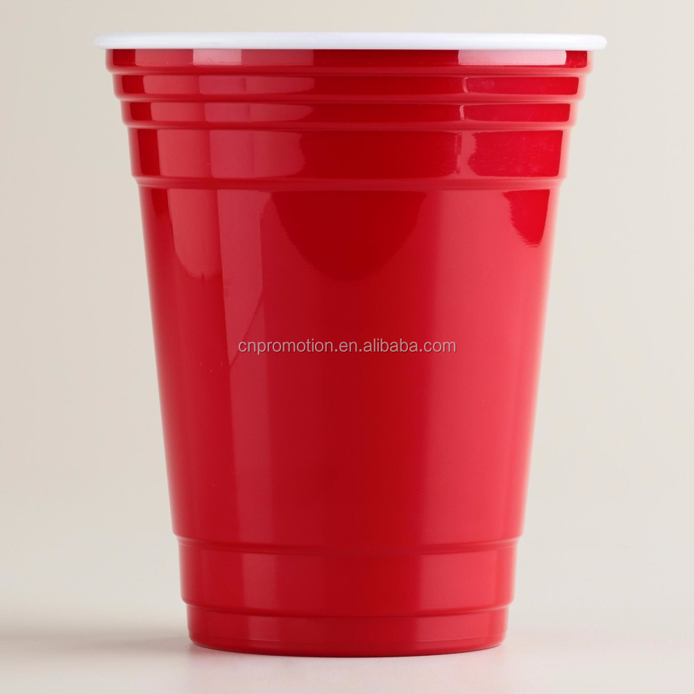 Red Disposable Plastic party cup hard plastic PS red cup 16OZ
