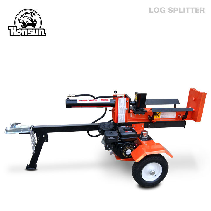 Europe standard Honda GX200, B&S I/C, B&S Vanguard powered hydraulic 18 tonne trailer mounted log splitter
