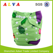Alva Baby Nice Cloth Diapers Vegetable Design Washable Diapers Factory