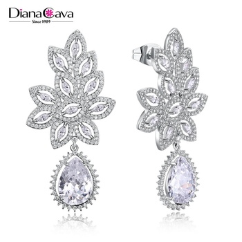 High-end Fashion Leaf Shape Design Jewelry Cubic Zircon Party Dangle Earrings for Women