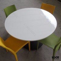 KKR solid surface dining table round and white chairs in restaurant