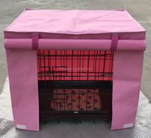 folding metal dog cage with cover and bedding