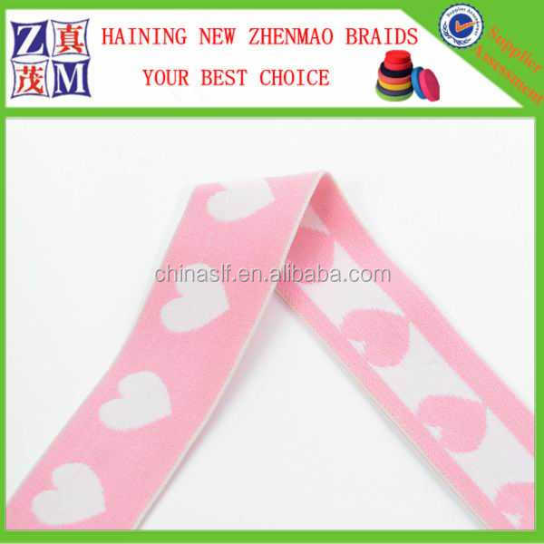 2016 high quality pink jacquard elastic with heart-shaped band for dress