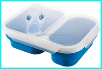High quality Food Grade 2 Compartment Collapsible silicone folding lunch box kids with seal lock