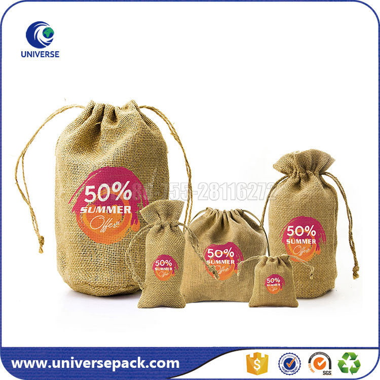 Hot Sale Custom Unbleached Jute Storage Bag With Printed Logo