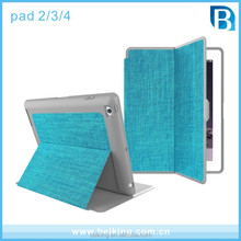 2017 Canvas Stand Leather Case For Ipad 2 3 4 Fold Leather Case