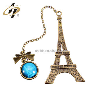 Wholesale bulk cheap custom Eiffel Tower metal bookmark for books