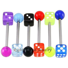 Wholesale UV Acrylic Dice Ball Fake Piercing Tongue Barbell Jewelry