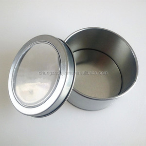 Customized factory sale round metal cosmetic tin box with PVC window