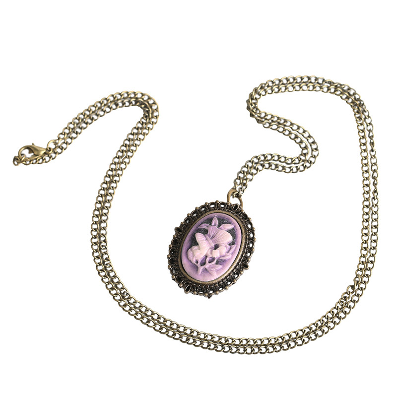 Retro Purple Flower Butterfly Pattern Mini Pocket Watch Women Lady Girl Necklace Pendant Watches Clock Birthday New Year Gifts (5)