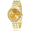 SWTM1060 Latest Gold Crystal Stainless Steel Band Watch Three Eyes Geneva Men Lady watch