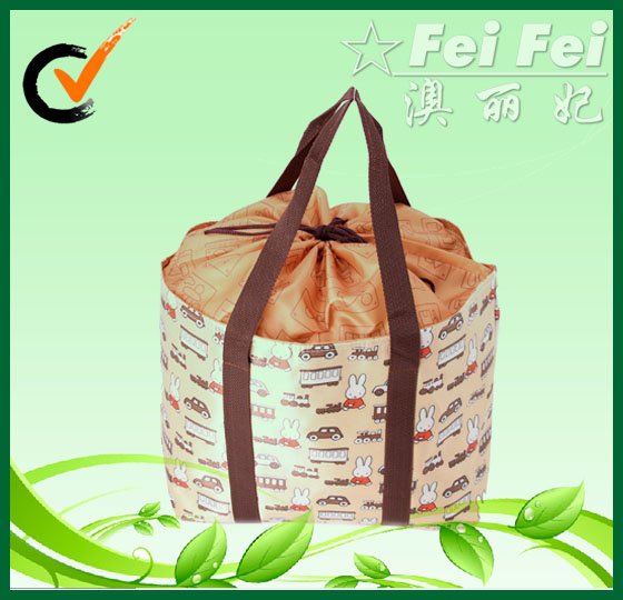 Nylon with full printing + drawstring type handbags or shopping bags