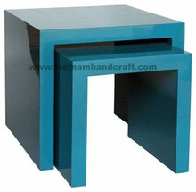 Quality eco-friendly handmade vietnamese lacquer table in solid blue