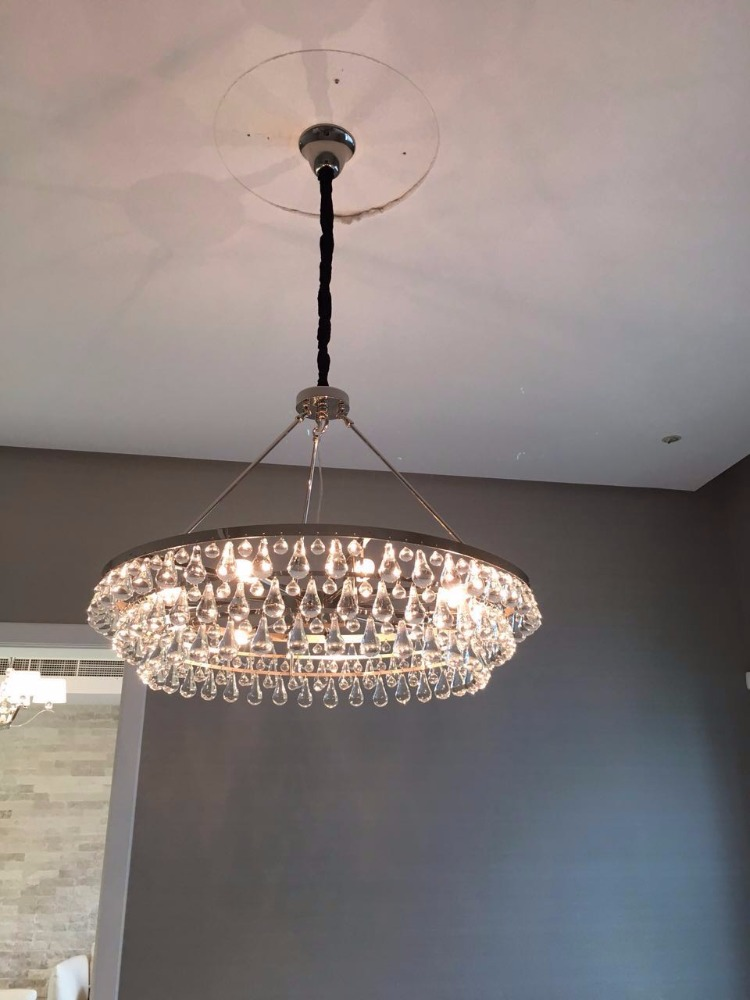 Three circle rainy drop crystal nickel modern chandelier,custom-made lighting design for Bahrain residential building