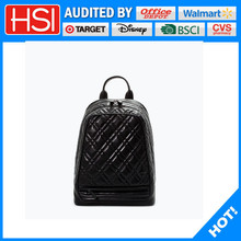 fashion design lady black leather backpack