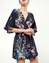 NS0895 european fashion women deep v neck floral printed short playsuits