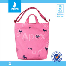 Hot sale printed pink women shopping bags