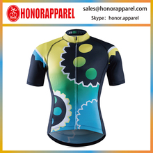 gear pattern cycling jersey summer green and yellow bicycle apparel hot sale <strong>sportswear</strong>