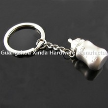 Best promotion gift baby bottle keyring /Hot sell baby souvenirs baby bottle zinc alloy key chain