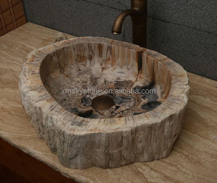 Western Design Popular Fossil Wood Stone Wash Basin Sink Vanity sink