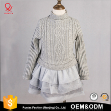 Custom cotton girl knitted sweater dress latest design wool dresses kids for baby