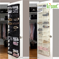 Household essential 26 pockets Over the door cardboard hanging shoe storage organizer with 3 hooks