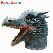 Halloween Masquerade Realistic Rubber Latex Fire Dragon Head Mask