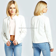 top quality hot sale PU/Viscose woman motorcycle jacket design