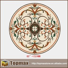 Decorative waterjet stone colorful round marble slab table top