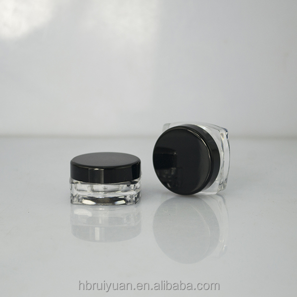 5 Gram Small Clear Plastic Cosmetic Cream Containers Lip Balm Jars With Black Lid